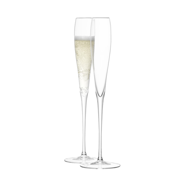 Impressively tall, these slender, handmade champagne flutes will add style and impact on every occasion