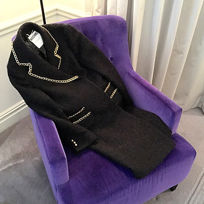 Moschino, Chain-trimmed wool-blend bouclé coat