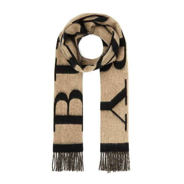 Burberry's Emblem Print Scarf exudes plenty of classic charm with a large graphic printed emblem and signature neutral camel colour palette