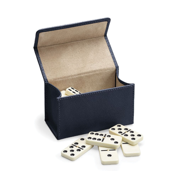 this Domino Set in Grained Leather Petrol is a luxury addition to your game collection