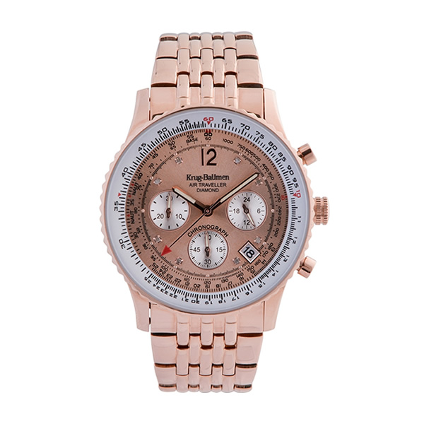 Krug-Baumen Air Traveller Diamond Rose Gold Dial Rose Gold Strap 400603DS